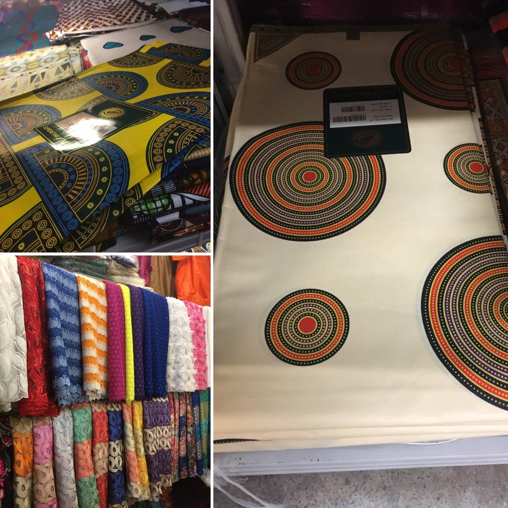 African Fabrics - 1259 4th Street N.E., Washington D.C.This store had the most unique selection of fabric.  There are Ankara patterns that I saw here that I had not seen anywhere else either online or in brick and mortarstores.  The store was well organized and easy to navigate.  Their price was slightly better for Ankara at $14 for 6 yards.  Their laces started at $55 for 5 yards.