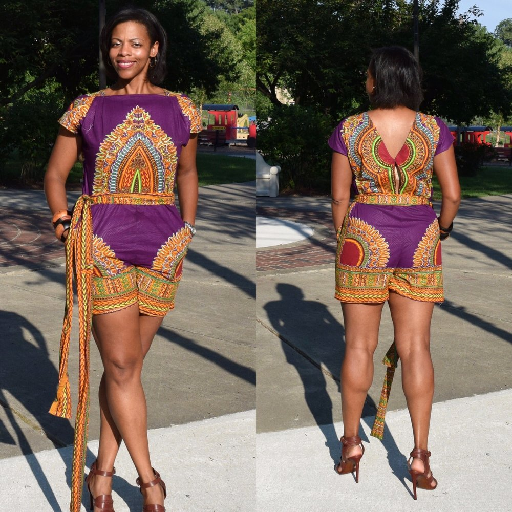 African Eleganza Fashions - Africaneleganza.comI bought my very first full length piece of Ankara from here. I used it to make the romper to the left and also made a skirt. They have a dizzying array of prints. For the most common print (the one with the central emblem), they had a large variety of colors. The shopkeeper was helpful, patient and willing to answer lots of questions. Their Ankara fabric is priced at $25 for 6 yards.