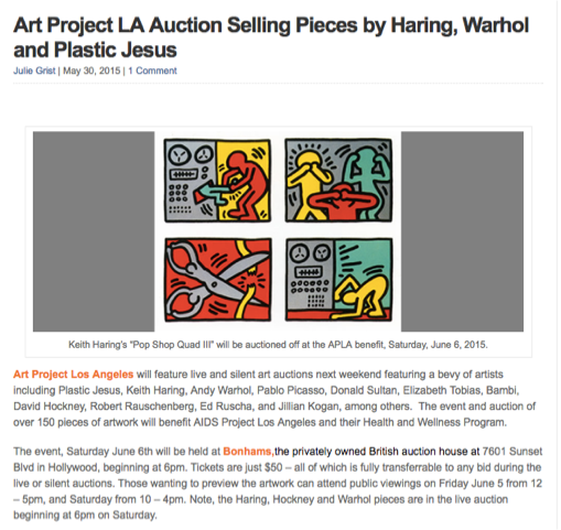 Art Project LA Auction Selling Pieces by Haring, Warhol and Plastic Jesus by Julie Grist  May 30, 2015