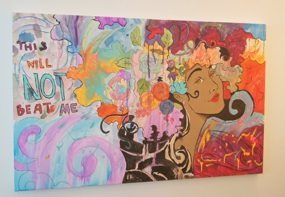 Painting created by survivors, on display at the Rape Recovery Center.