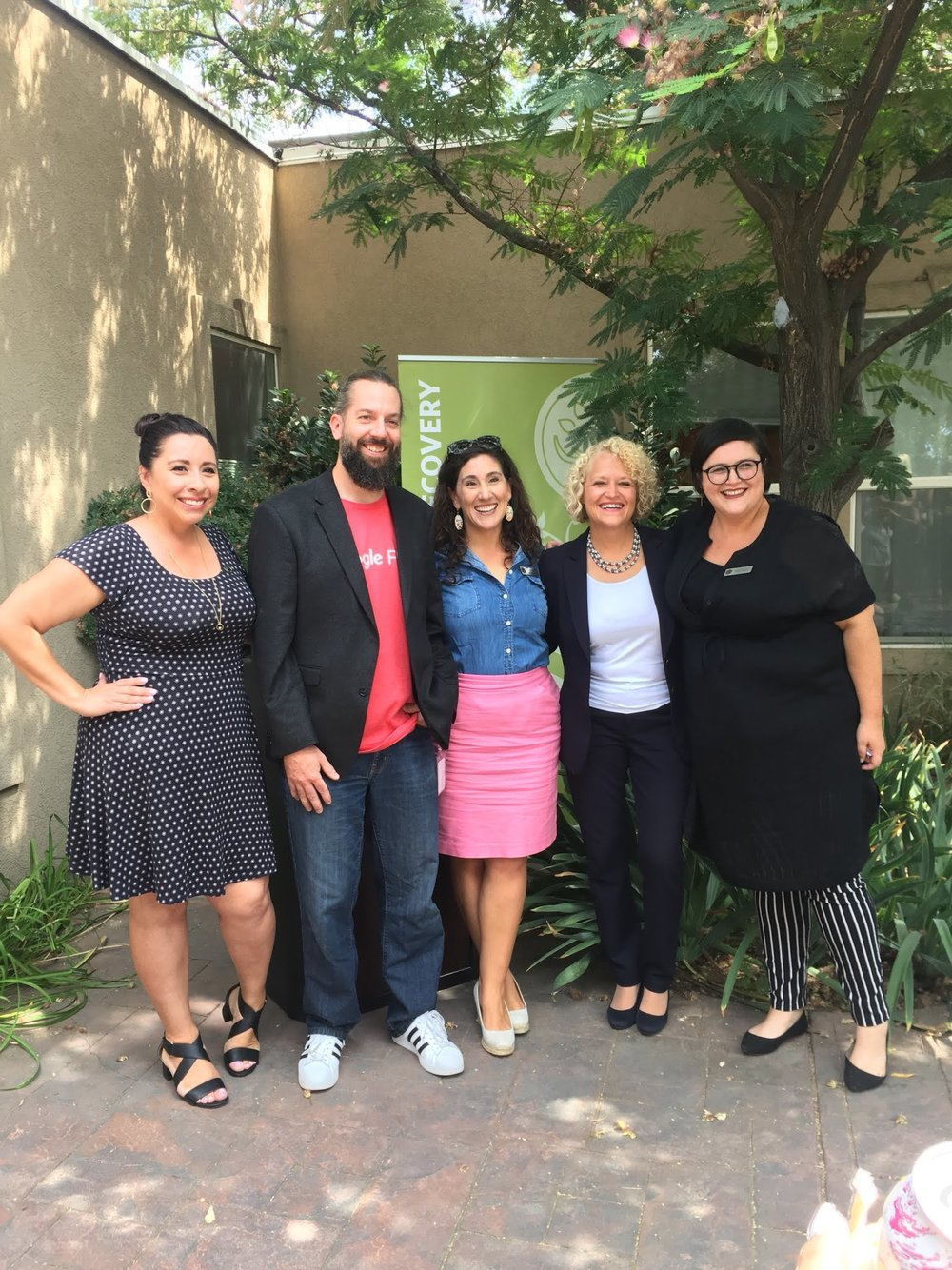 Left to Right: State Representative Angela Romero, Jacob Brace (Community Impact Manager, Google Fiber), Shireen Ghorbani (Board Chair, Rape Recovery Center), Salt Lake City Mayor Jackie Biskupski, and Mara Haight (Executive Director, Rape Recovery Center).