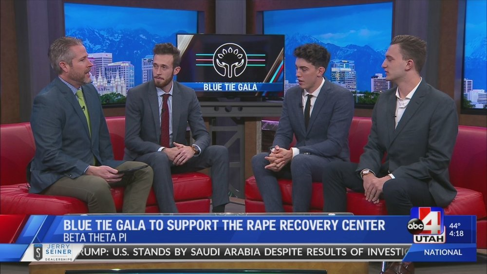 Members of Beta promoting the Blue Tie Gala on ABC 4, a local news station