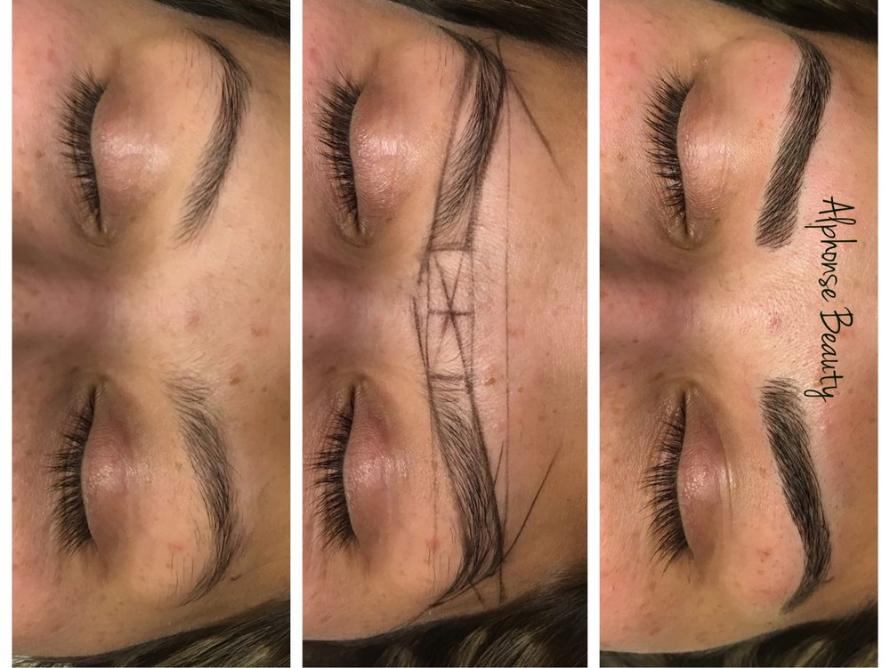 Eyebrow Microblading mapping and post procedure results