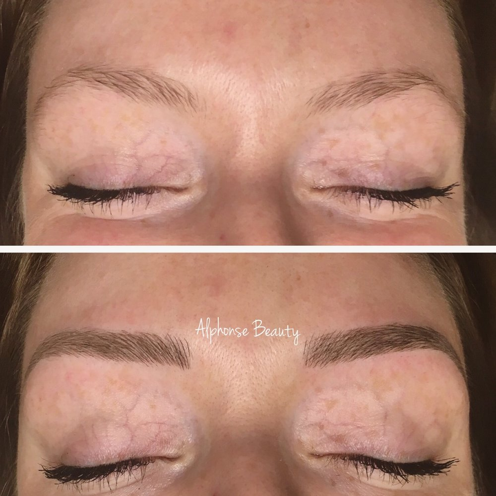 Eyebrows filled using Permanent Makeup Eyebrow Microblading Procedure