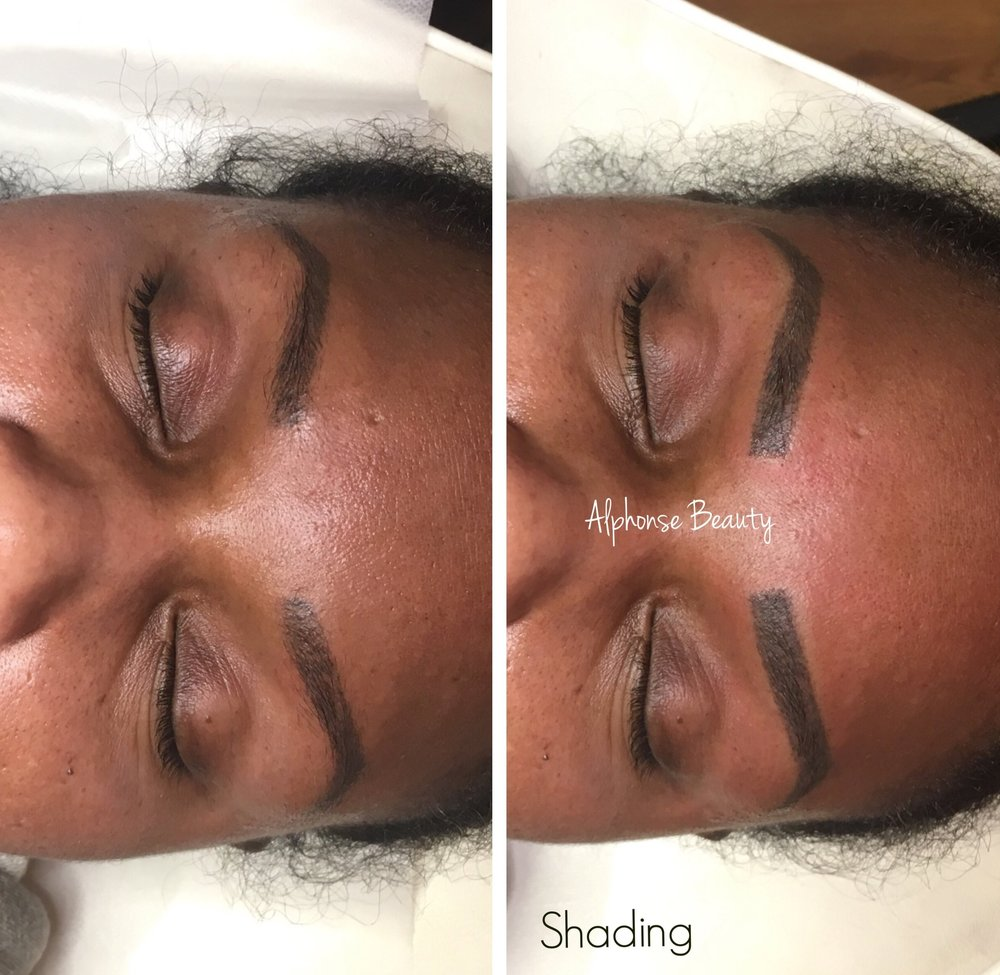 Eyebrow Microblading results after adding Shading