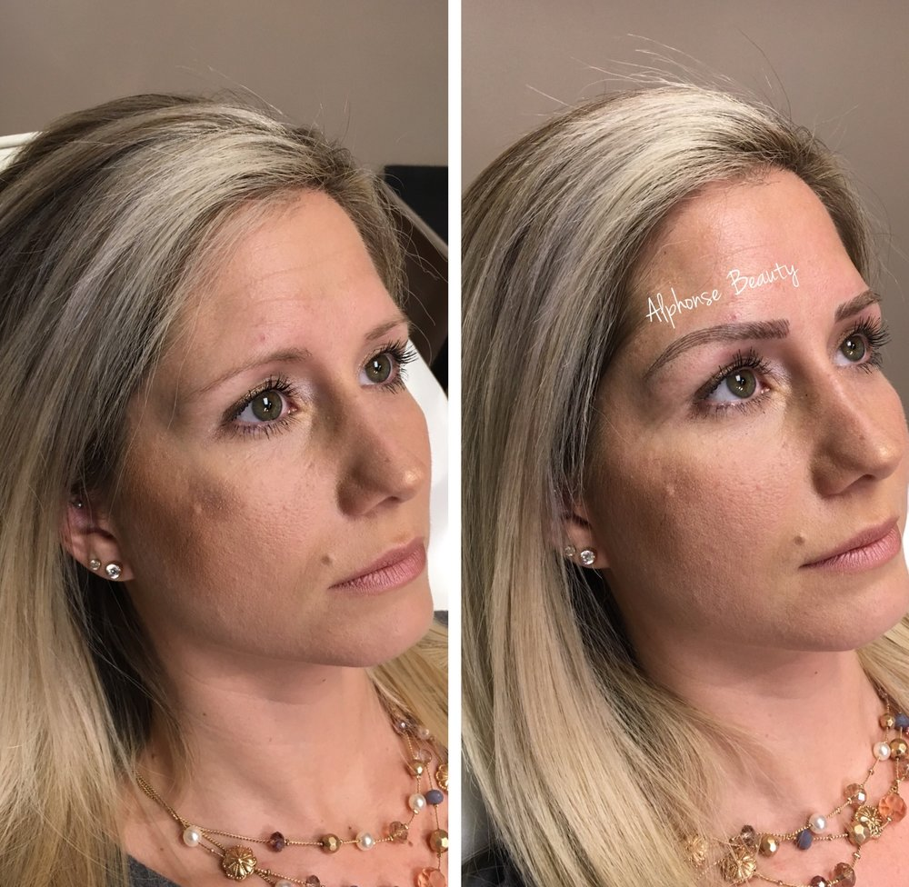 Eyebrow Microblading results on blonde client in Michigan