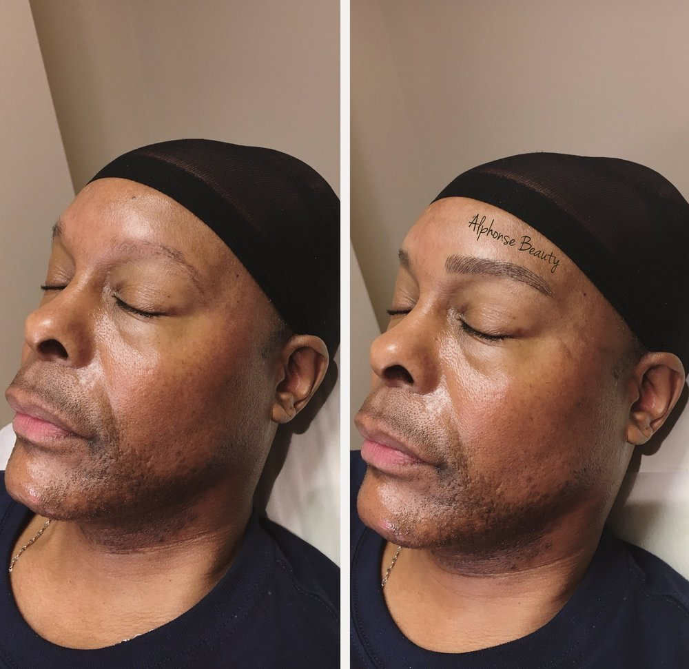 Eyebrow microblading on man for full brows - Before and after results