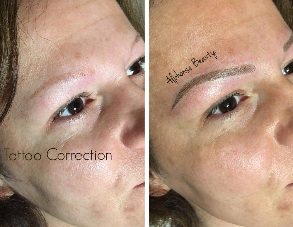 Previous tattoo correction using microblading