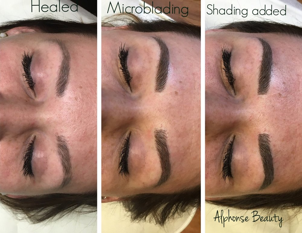 Eyebrow Microblading with Shading added comparison