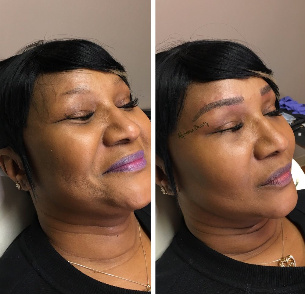 Permanent Makeup Brows Before and After in Metro Detroit