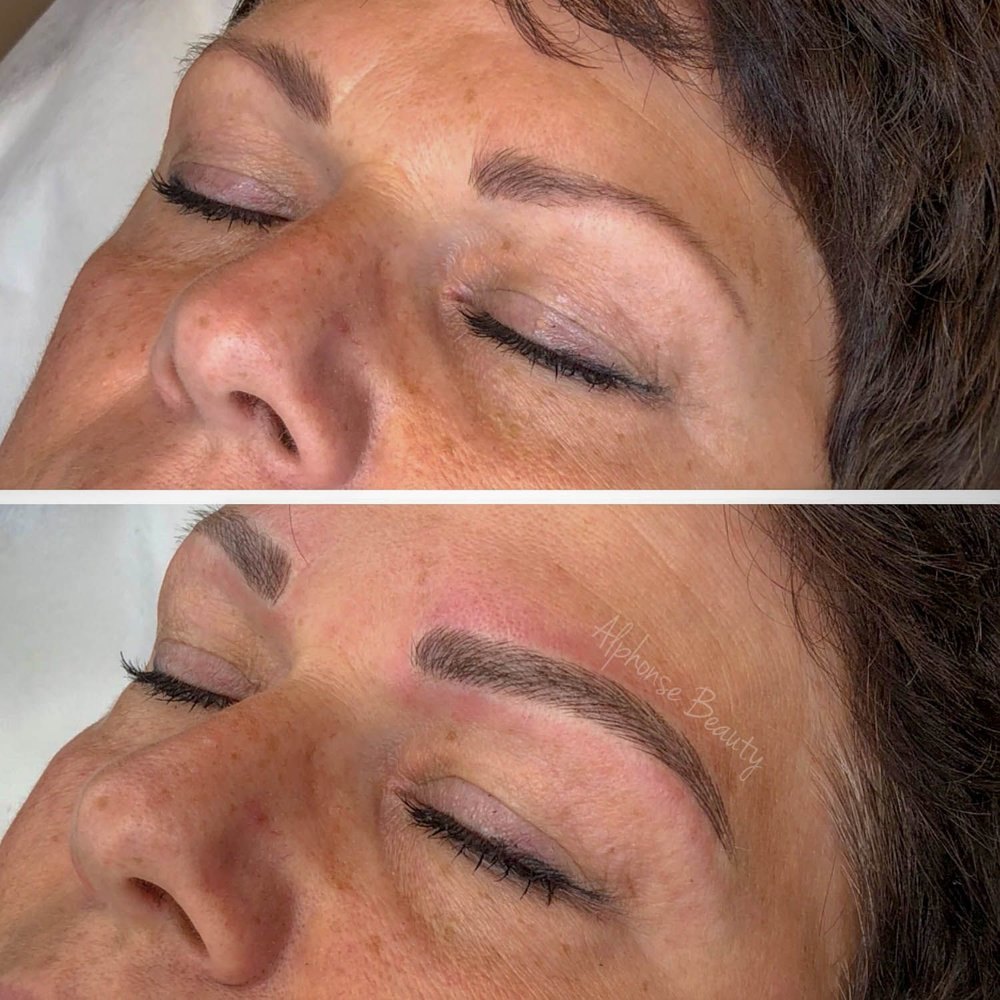 Thicker and fuller eyebrows after microblading procedure!