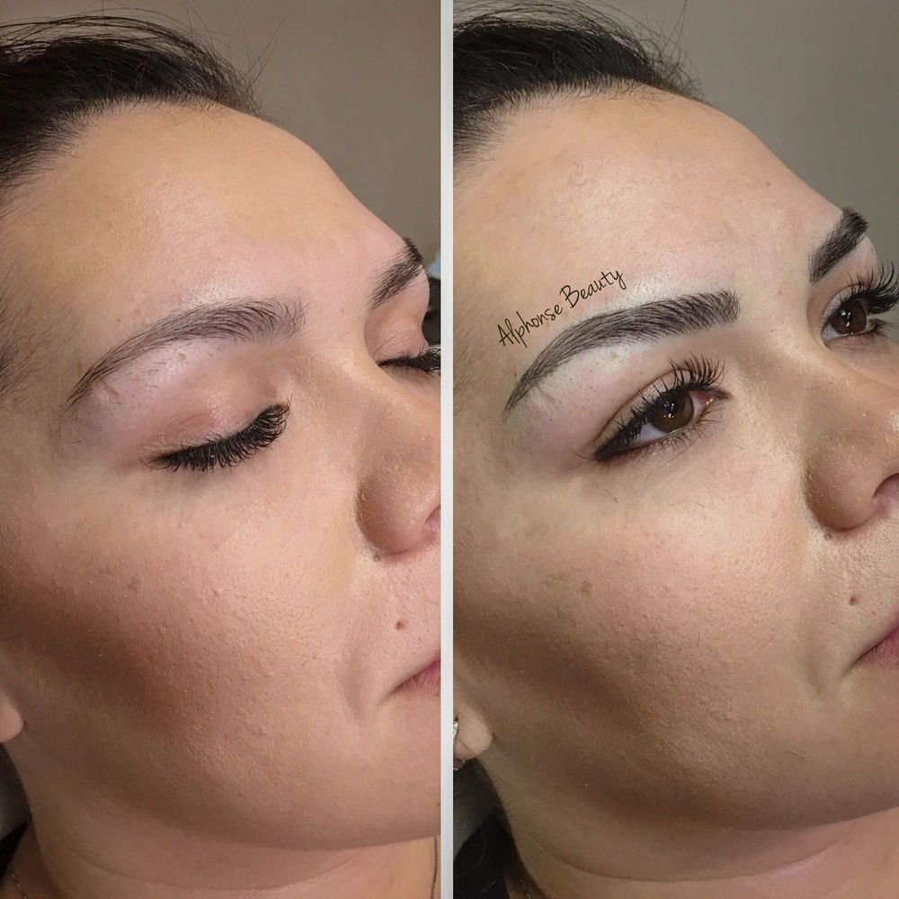 Permanent Makeup Eyebrow Microblading Before & After performed at Alphonse Beauty Microblading Studio