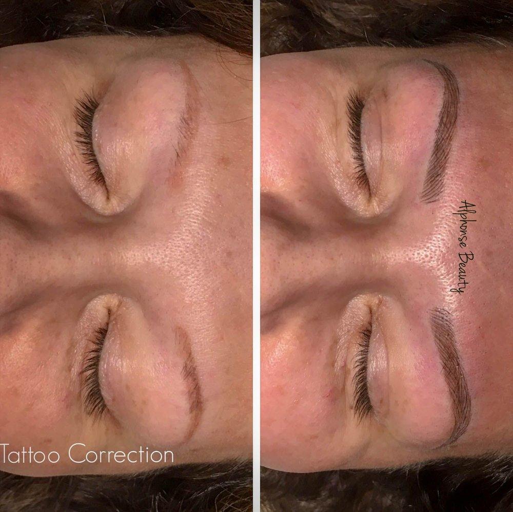 Eyebrow Tattoo Correction using Microblading at Alphonse Beauty Microblading Studio in Michigan