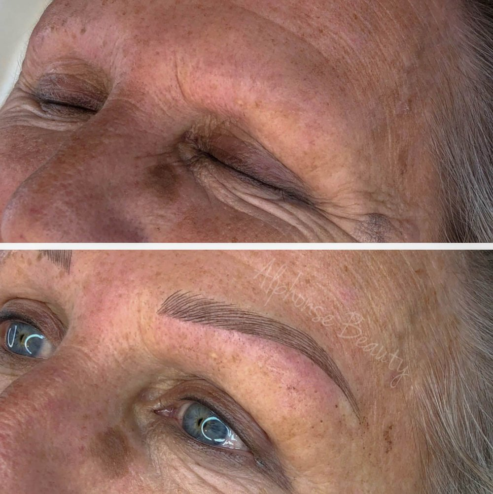 Complete eyebrow creation using microblading