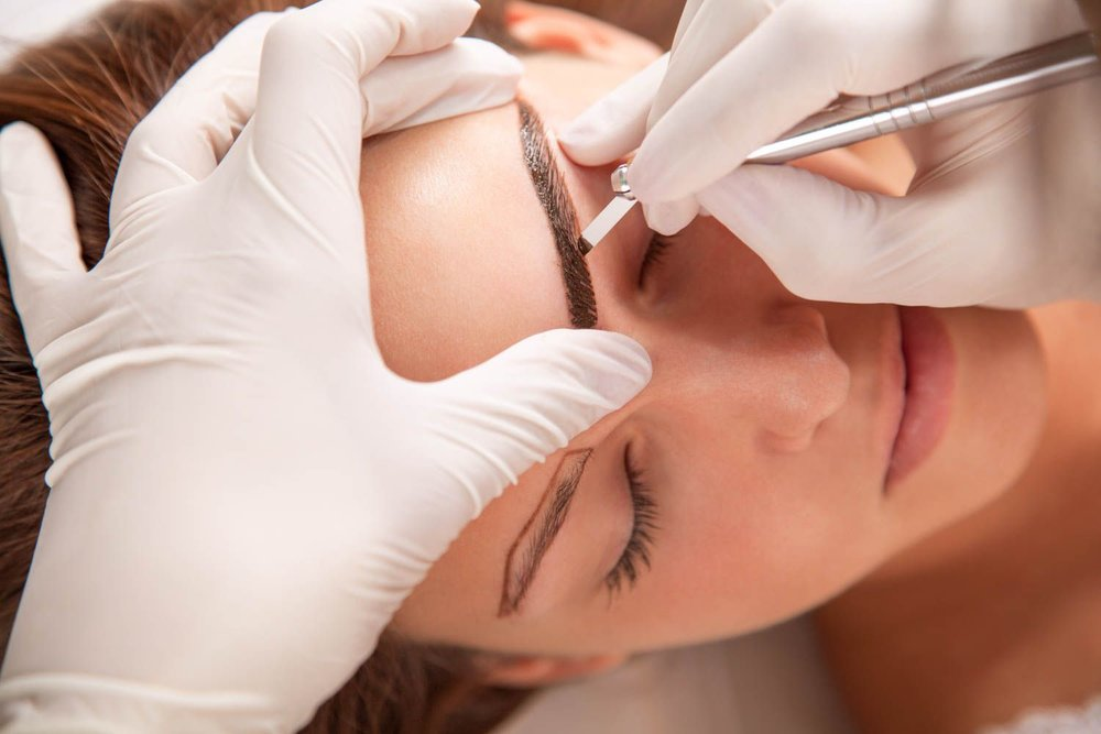 Process of applying microblading strokes to mimic hair