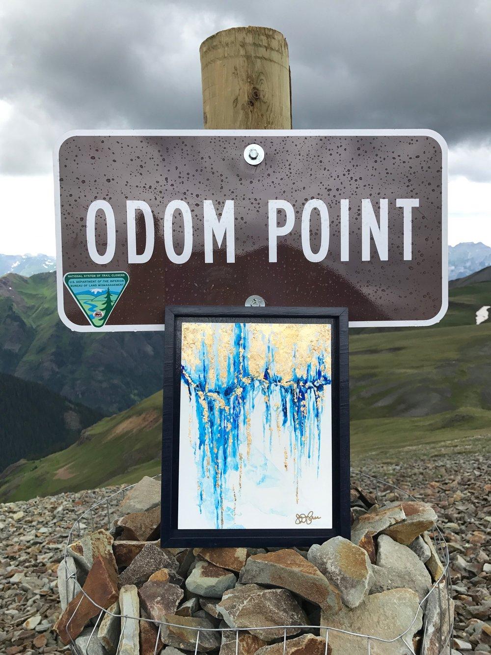"""""""Odom's Threat"""" - 9""""x12"""" 24K Gold Leaf, watercolor (photo prior to epoxy). Odom Point, Colorado."""