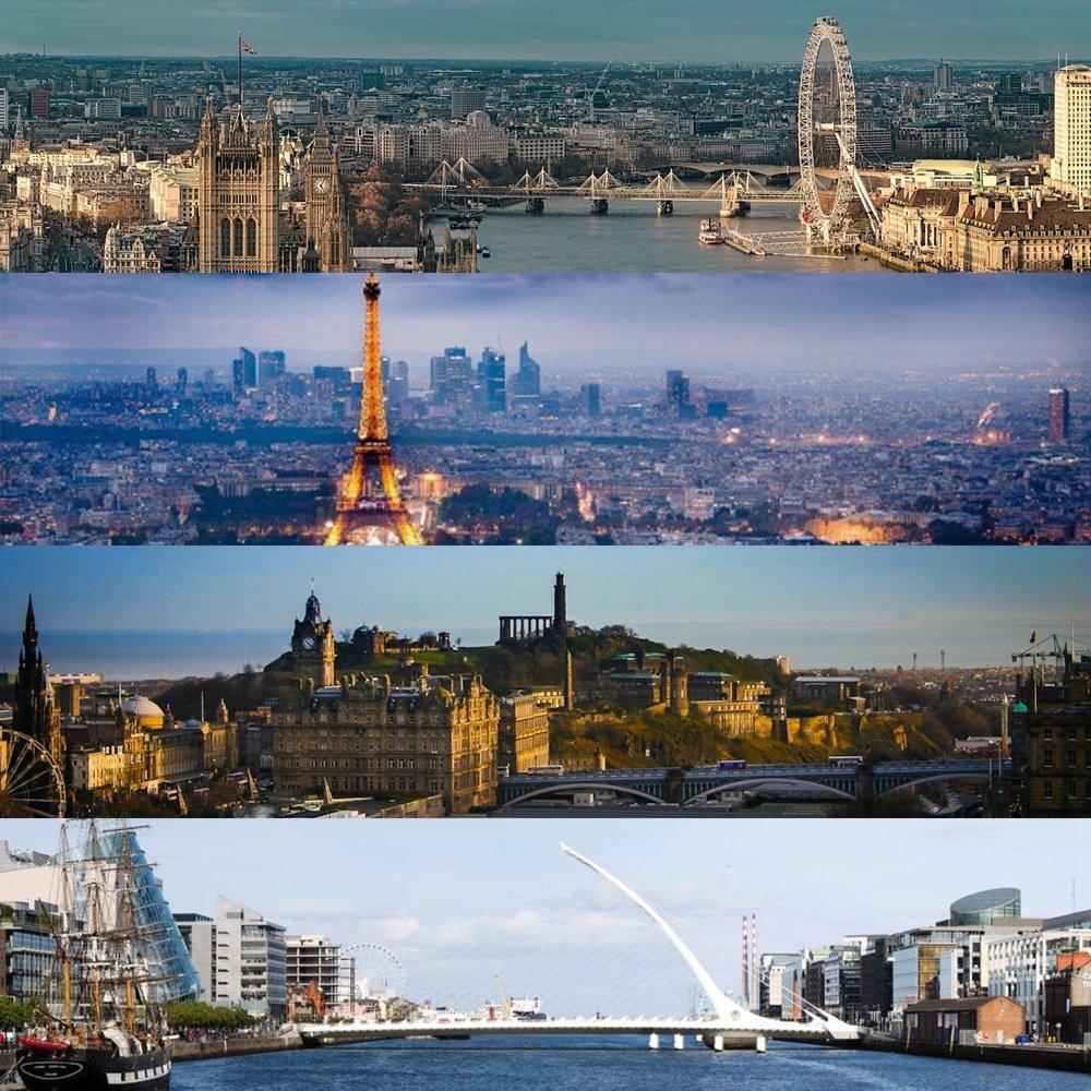 London, Paris, Edinburgh, Dublin