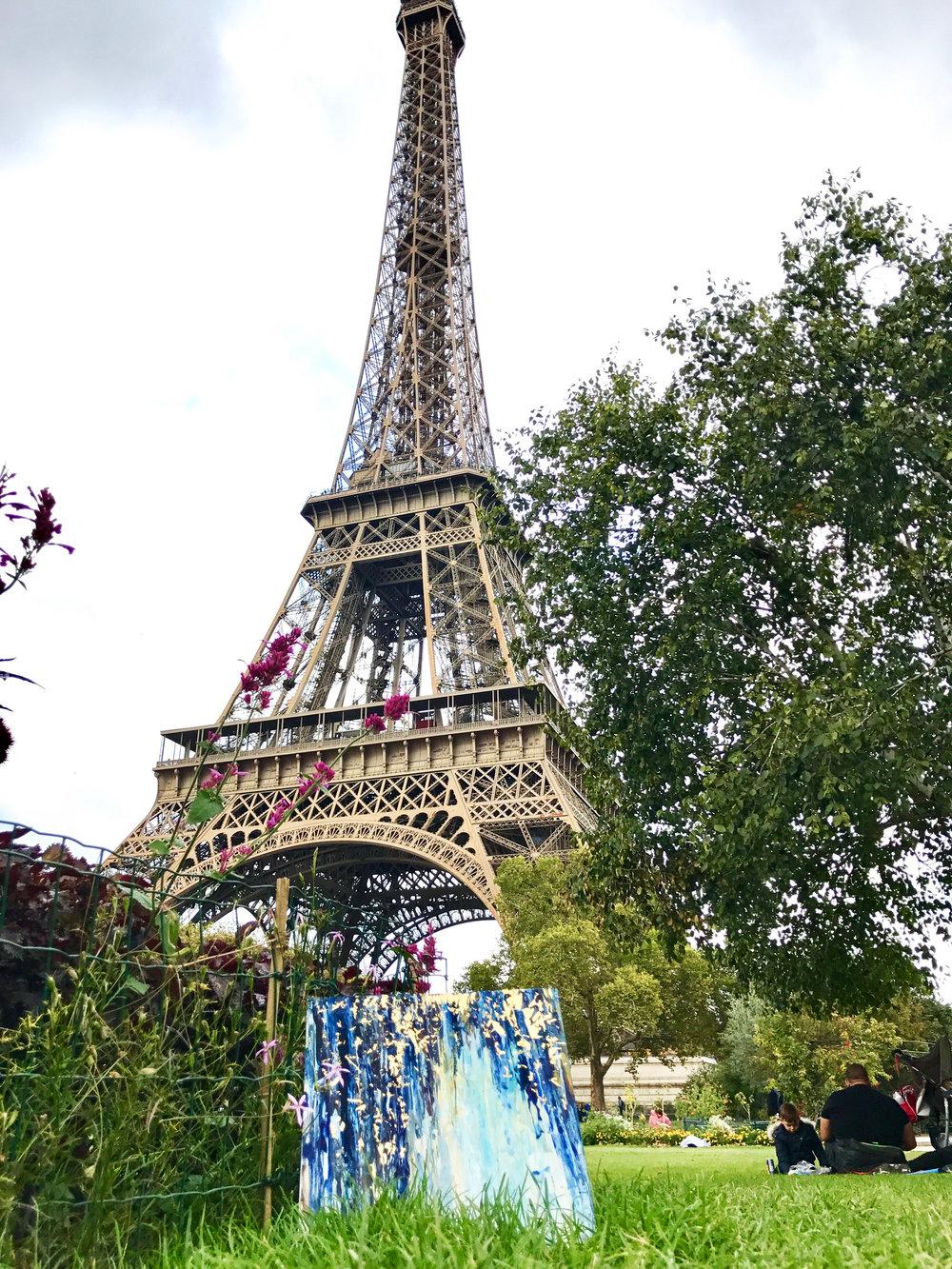 """Eiffel Showers"" - 12"" x 12"" Before Epoxy, Watercolor, 24K Gold Leaf."