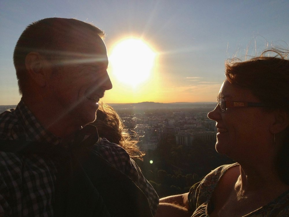 My parent's at the top of the Eiffel Tower in summer 2013.