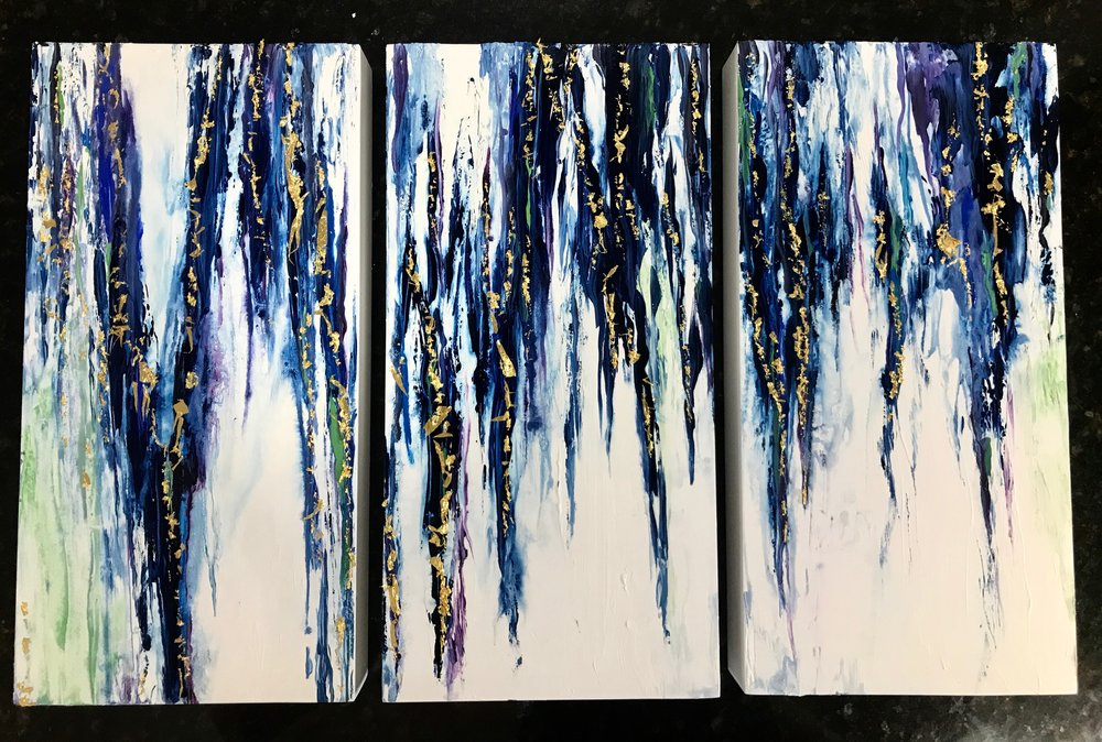 """""""Off the Vine"""" - 6"""" x 12"""" (x3) Triptych,Before Epoxy, Watercolor, 24K Gold Leaf."""