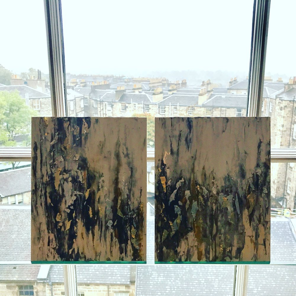 """""""Misty Morning"""" -8""""x10"""" (x2) Diptych, watercolor, 24K Gold leaf, sterling silver, pre-epoxy.Painted in Edinburgh, Scotland."""
