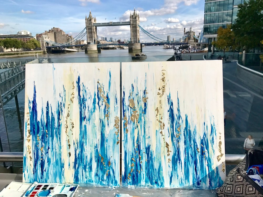 """""""Towering Blues"""" Diptych - 16""""x20"""" (x2). Watercolor, 24K gold, pre-epoxied. Painted in London, England."""