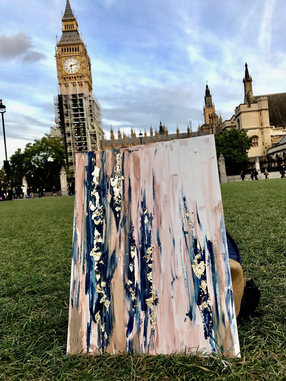 """""""Big Pink"""" - 12""""x16"""" watercolors, 24K gold, pre-epoxied. Painted in Parliament Square Garden London, England."""