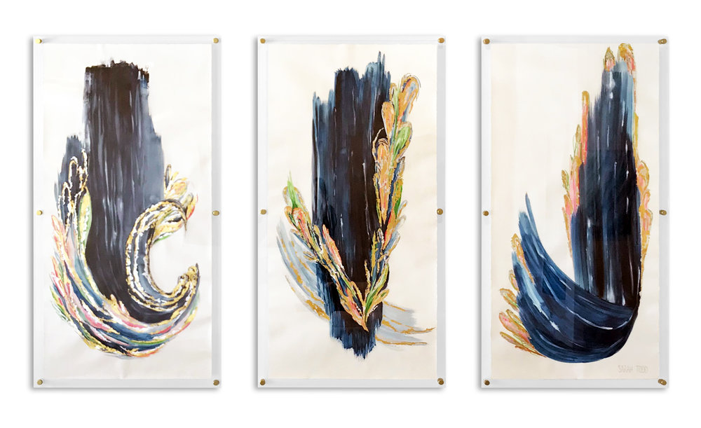 "PROVERBS SERIES III   AVAILABLE FOR PURCHASE 72""H x 36""W each TRIPTYCH 24K Gold Leaf, Genuine Silver Leaf, Watercolor on Paper framed in Clear Acrylic with Gold Standoff Mounts"