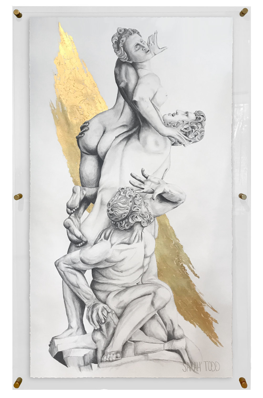 "THE RAPE OF THE SABINE WOMEN   AVAILABLE FOR PURCHASE 72""H x 43""W  Pencil, 24K Gold Leaf on Paper framed in Clear Acrylic with Gold Standoff Mounts"
