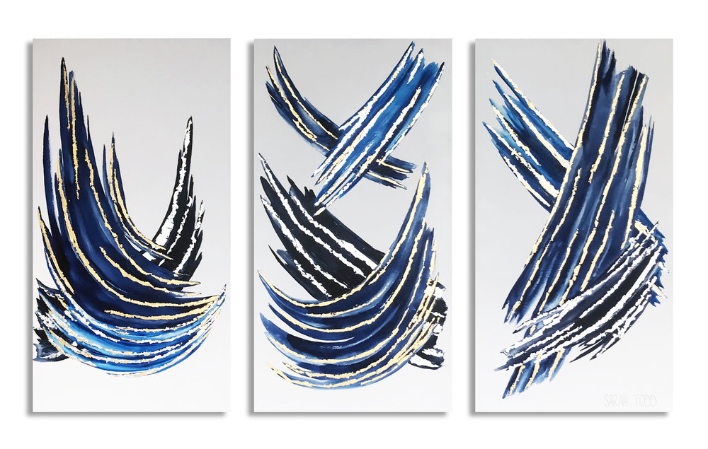 "SHAKEN NOT STIRRED   AVAILABLE FOR PURCHASE @ Ligne Roset Dallas 48""H x 24""W each TRIPTYCH Watercolor, 24K Gold Leaf and Genuine Silver Leaf on Canvas"