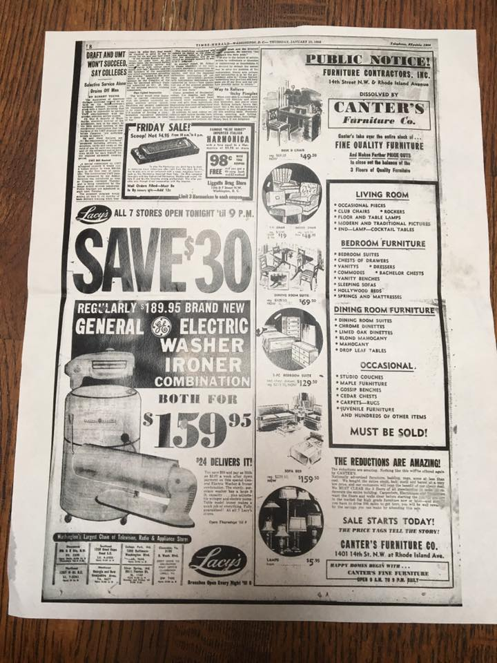 (Canter's Furniture Co. advertisement from the 1952 Washington Times-Herald)