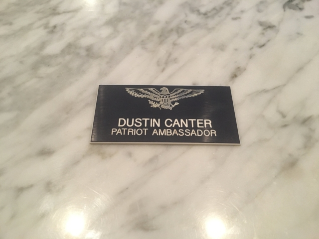 Dustin's badge from his High School committee where he served as a volunteer.  During one occasion, he served while the President of the USA signed legislation to support veterans.   READ MORE