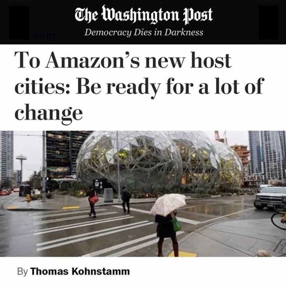 """Opinion: """"To Amazon's new host cities: Be ready for a lot of change""""— - Check out Thomas' opinion piece in The Washington Post."""
