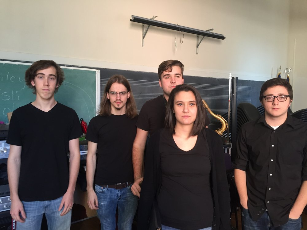 Prior to performance. From left: Alex Ouellette, Aaron Clarke, Hunter McKay (rear), Ali Sarnacchiaro, Max Richardson