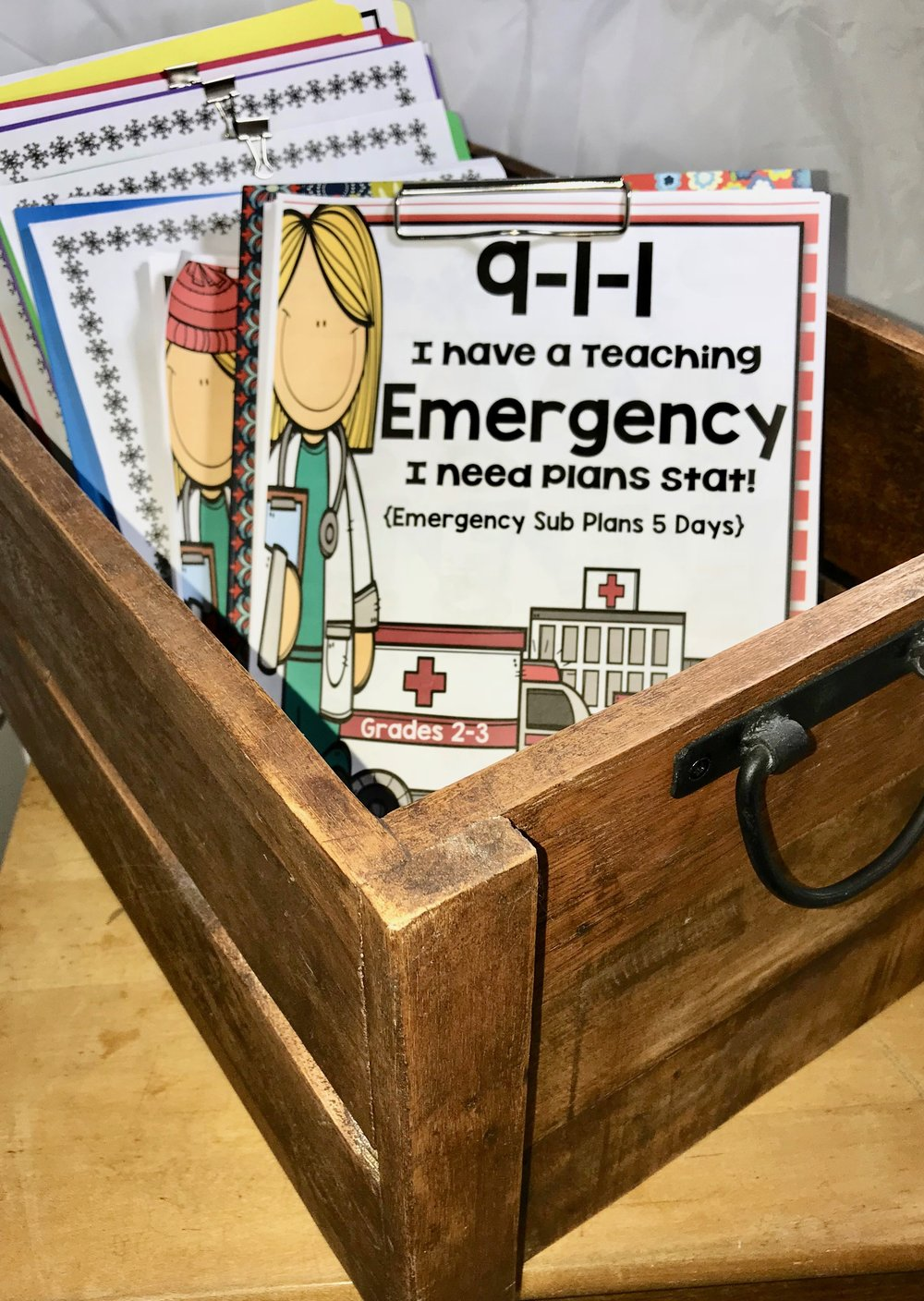 Wooden box from TJMaxx with Emergency Sub Plans
