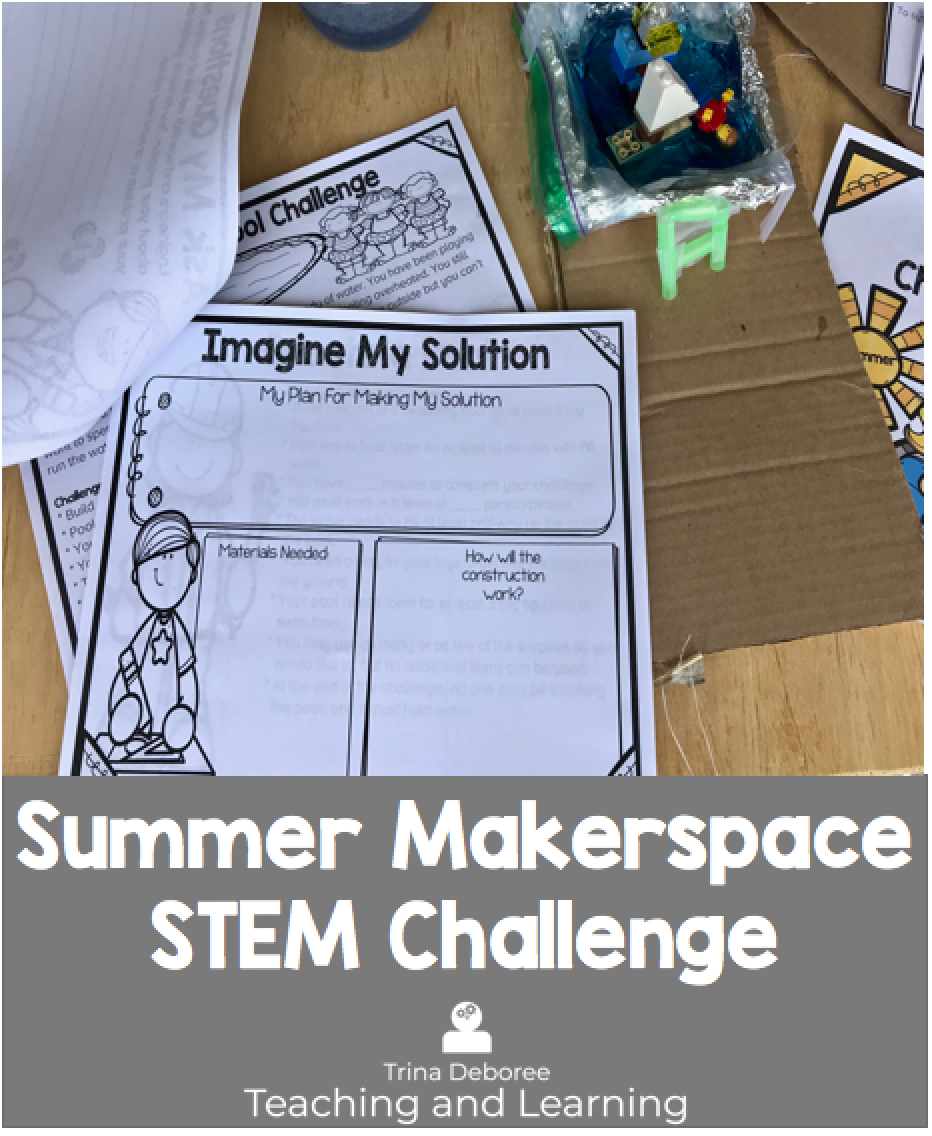Summer activities for kids can be a lifesaver! Summer Makerspace/ STEM Challenge is a great way to get kids thinking about how they can solve the problem of being HOT and bored this summer! This challenge gets kids thinking like an engineer and scientist and can easily be used with a discussion on solids, liquids, and gasses. #makerspacechallenges #makerspaceclassroom #makerspaceactivities #makerspaceideas #makerspaceprojects #makerspacespace