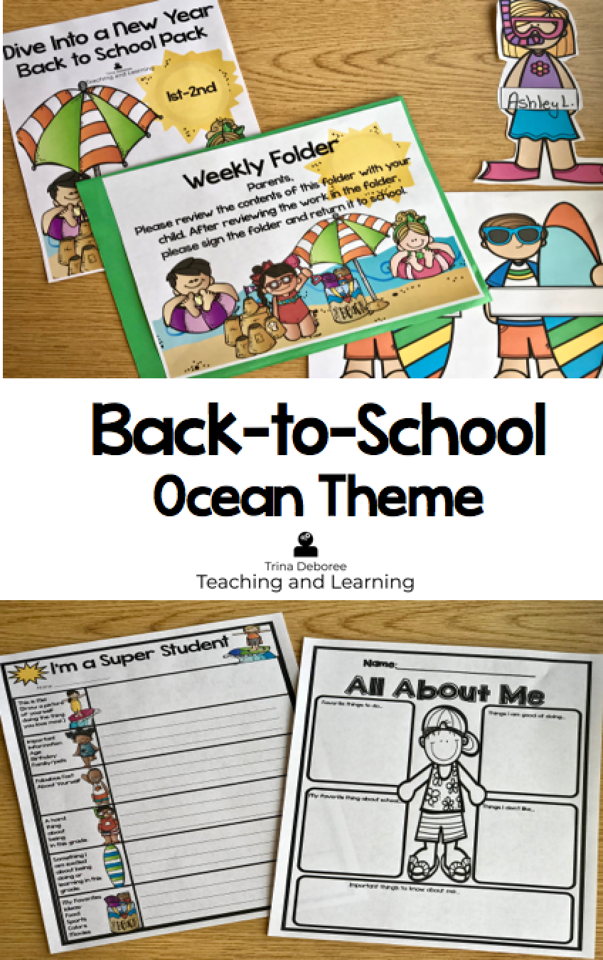 Back to School Ocean/Beach Themed Packet for teachers! Are you ready for a new year of teaching? If you are ready to plan for next year and start your year off with a great beginning, then this back to school pack is for you! Dive Into A New Learning Adventure is filled with back-to-school activities, lesson ideas, ocean/beach/surfing decor, and more! #backtoschool #backtoschoolbeach #backtoschoolocean #backtoschoolactivities #backtoschooldecor #backtoschoollessonideas #teachers