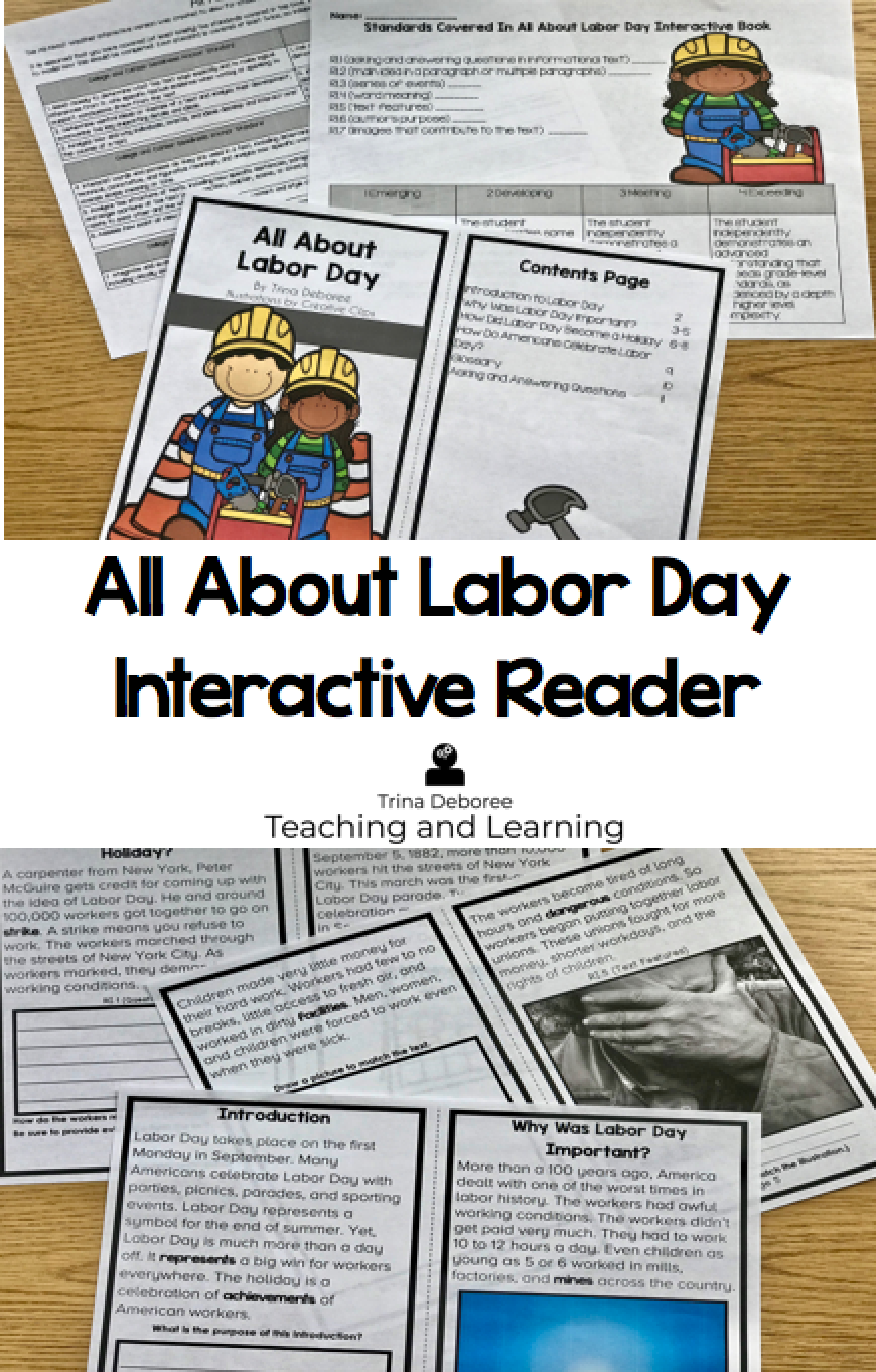 All About Labor Day Interactive Reader is a great Labor Day activity for kids. This little reader is filled with history and information for young readers. #laborday #labordayactivityforkids #teachers #nonfictionreader #homeschool