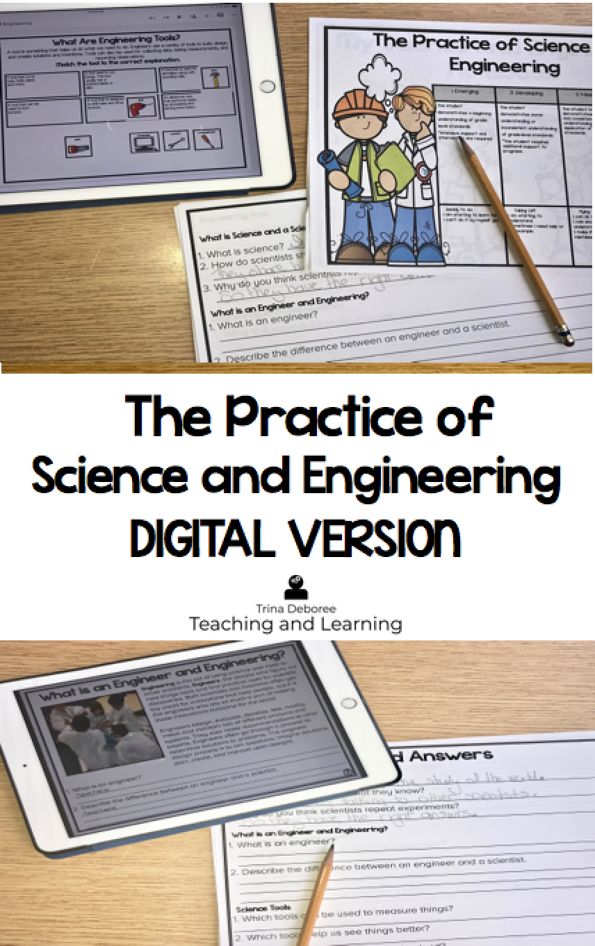 The Practice of Science and Engineering digital version brings STEM practices together in the manner in which they were intended- integrated. Nonfiction reading passages about What is a Scientist? and What is an Engineer? help students see the subtle differences between the two fields of study. This digital approach brings STEM together while integrating informational text standards. A bonus science experiment and STEM challenge is included. #engineeringforkids #STEMforkids #engineeringactivitie