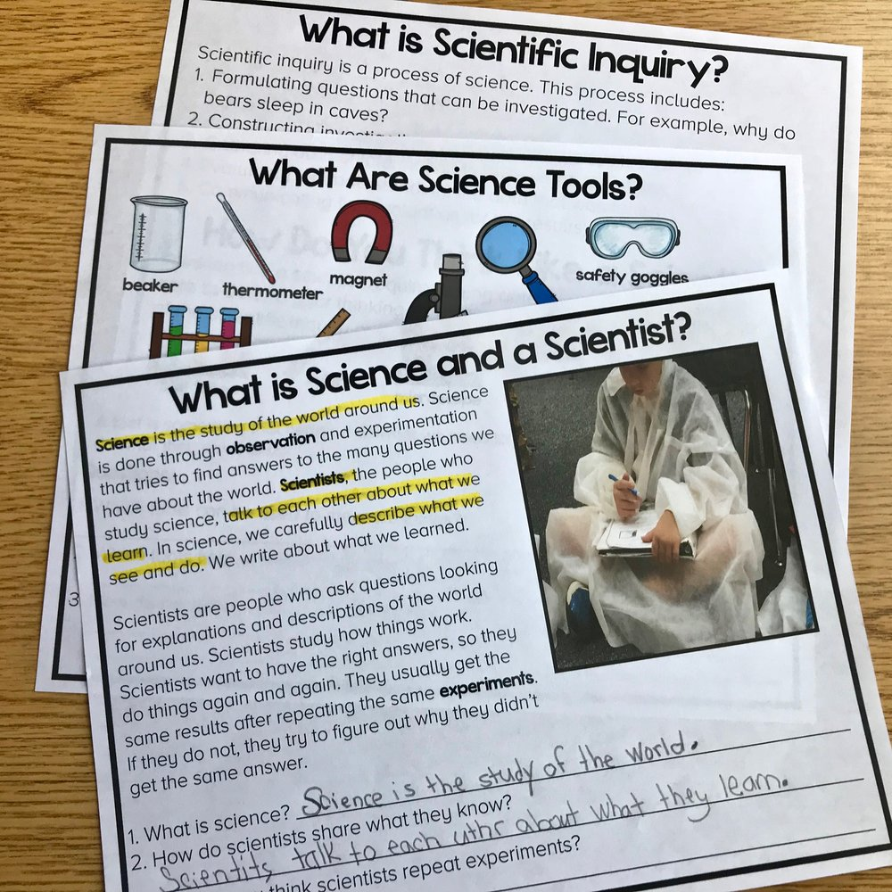 The Practice of Science Reading Comprehension FREEBIE