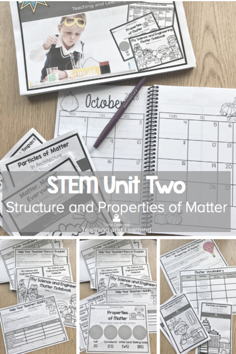 STEM Units of Study includes STEM Matter activities, lesson plans, challenges, a focus on solids, liquids, and gases, and complete curriculum to teach four weeks of STEM Matter to your second graders. Each day focuses on the 5E model and provides you with the exact tools to illustrate the concepts. All of the guesswork has been removed with this NO PREP unit of study. #stem #matter #solidsliquidsandgases #stem2ndgrade #stemactivities #stemchallenges