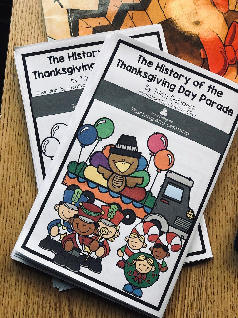 Thanksgiving nonfiction reader. #standards #thanksgivingparadehistory