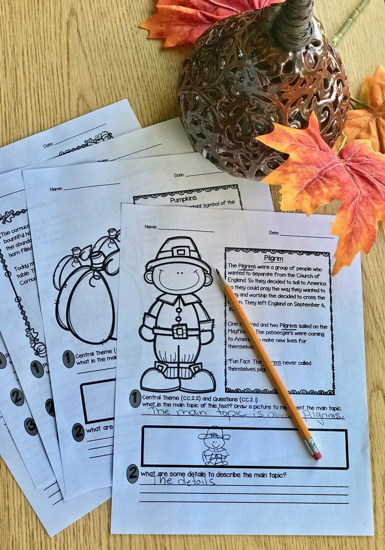 Thanksgiving Comprehension Passages #thanksgivingnonfiction