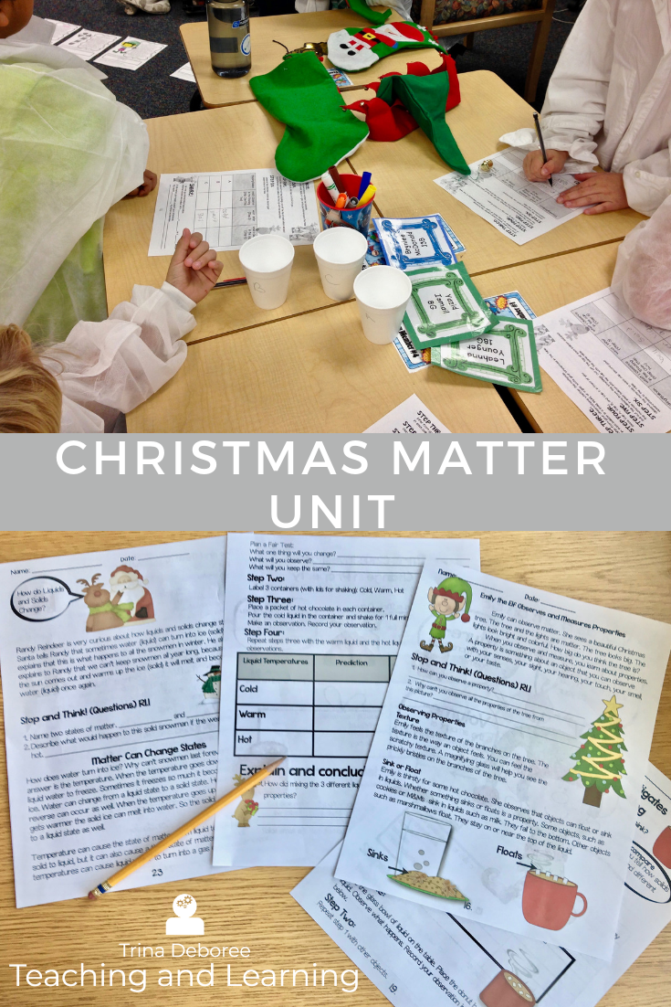 Matter unit of study with a Christmas flare! #solids,liquids,gases #matter