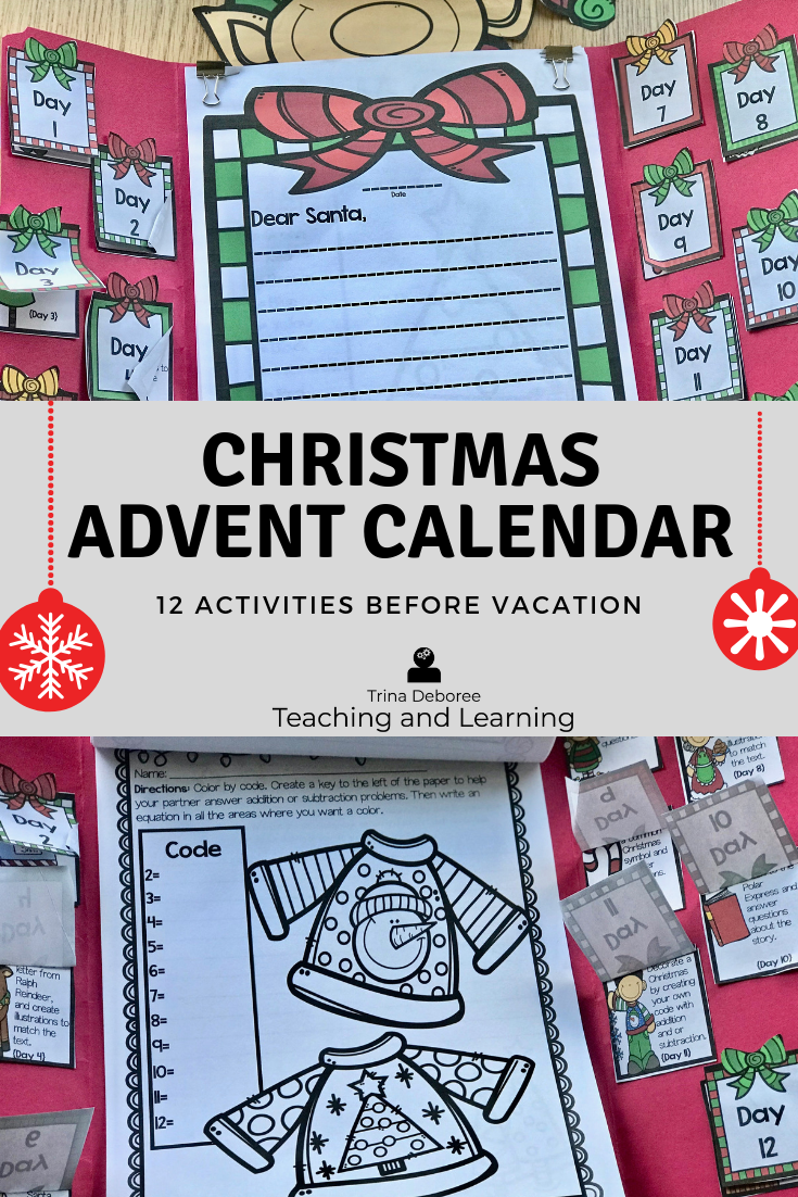 Christmas activities that will help you survive until winter break. This Christmas Advent Calendar Lap Book is a great way to make it through the last few weeks before Christmas vacation. This packet was created to allow Standards Until The End while having FUN! #christmasadventcalendar