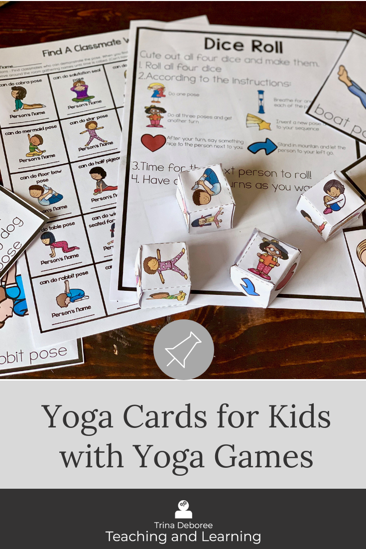 Yoga for kids can be used in the classroom as a whole group yoga flow and sequence activity, used in a yoga center, or used in a calming corner. This set includes yoga posters and printables and yoga games. #yogaforkids