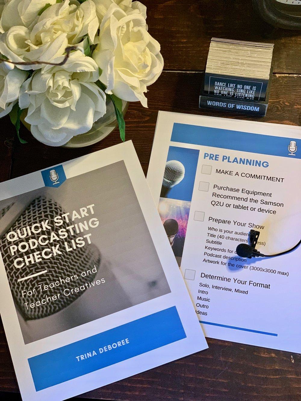 Podcasting Quick Start Guide Freebie #podcastingforteachers #podcastingforteachercreatives