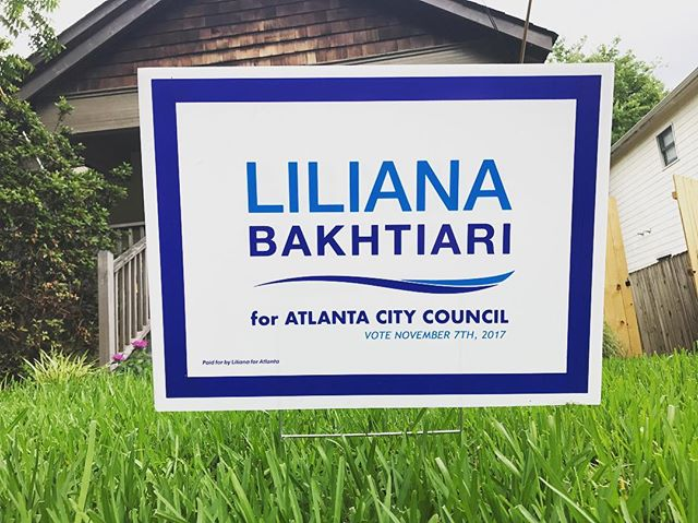 It is extremely disheartening to hear that multiple Liliana for Atlanta signs have been stolen from supporters' yards.  Given the number, it is clear that this is a pattern and not a coincidence.  If this has happened to you, or if you see this happening, please let us know. We're happy to replace your signs, and honored for your support.