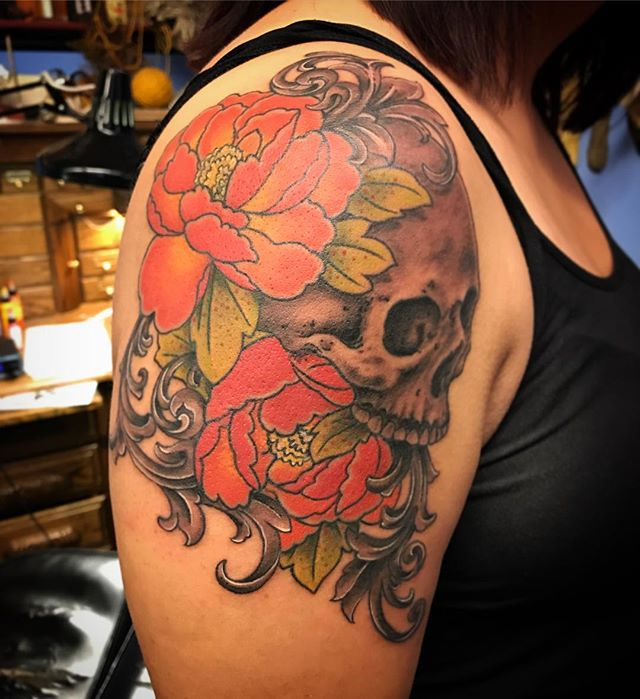 Flowers and skulls and swirls... by Damion Saunders