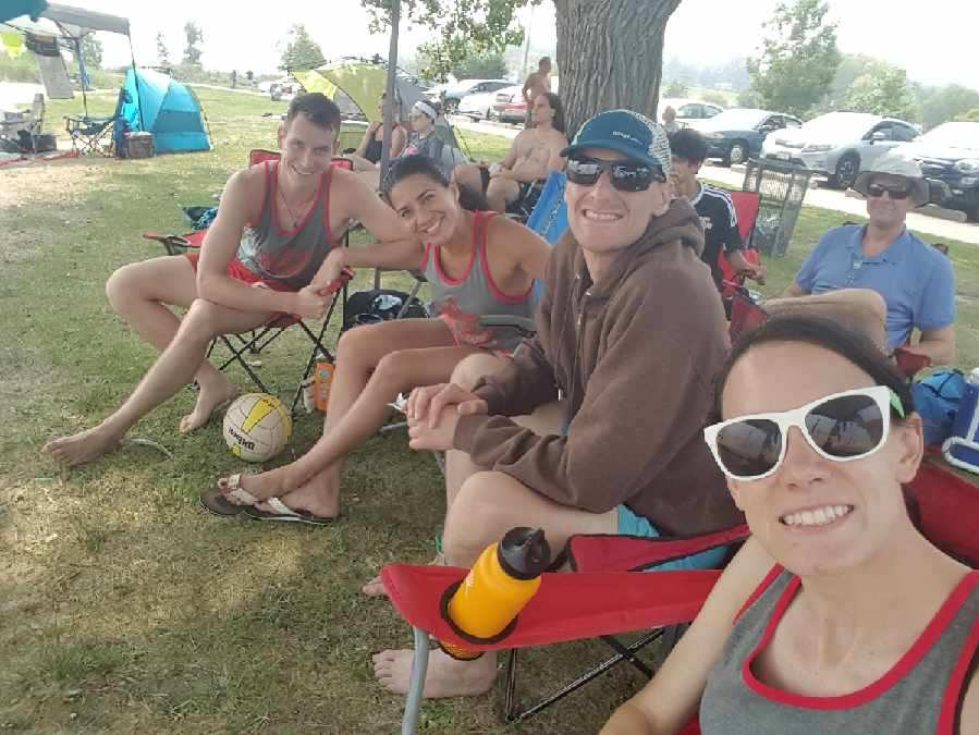 Team Volley Lifers hanging out during the 2018 Coed Quads Bash.